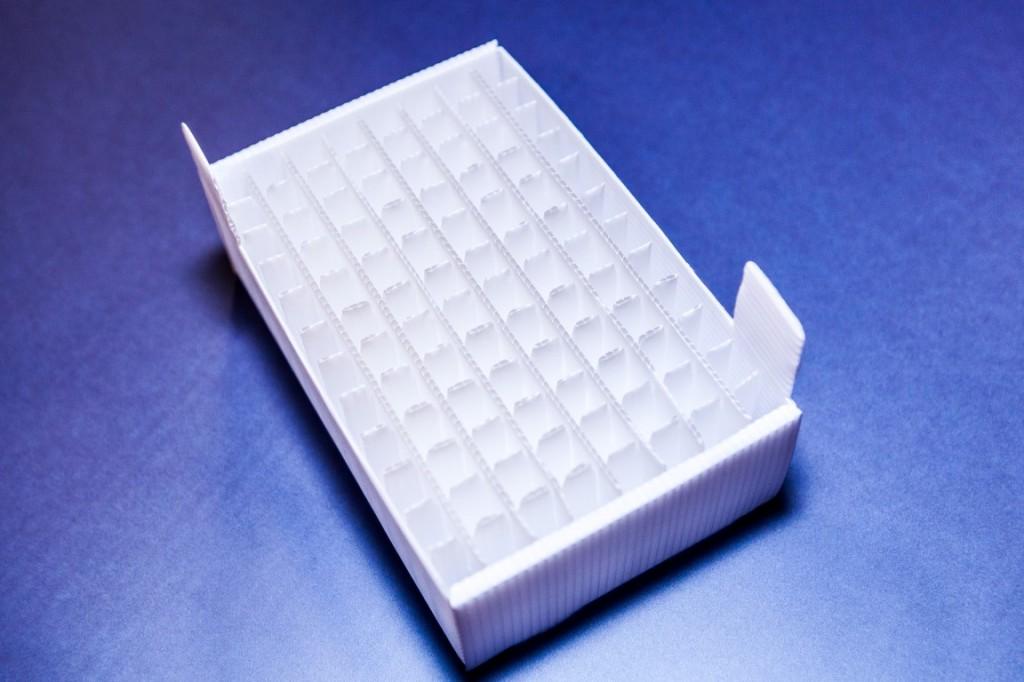 Plastic vial tray medical deep freeze